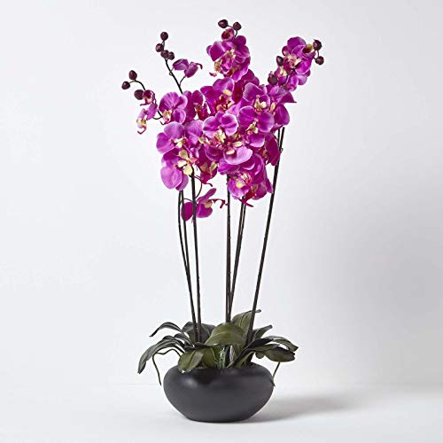 HOMESCAPES Large Oriental Style Cerise Orchid with Silk Flowers in Black Round Planter Pot 79 cm tall - Artificial Flowers and Plants for Indoor Decoration