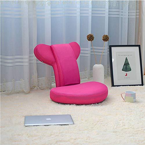 HUANXA Giapponese Pieghevole Sedia da Terra Sedia da Gioco, Regolabile Divano Pigro Correzione della Postura Facile da Riporre Tatami Lounge Chair Poltrona-Rosa