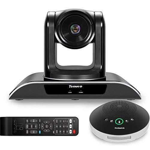 Tenveo VHD3U+A2000B | Videokonferenzsystem mit 3X Optischer Zoom Konferenzkamera und Bluetooth Mikrofon, Weitwinkel 1080P Full HD PTZ Webcam für Live Streaming, Skype/Zoom Videokonferenzen