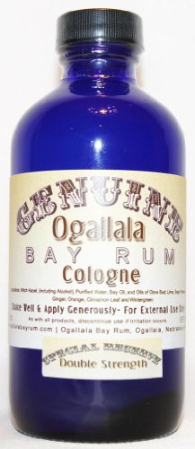 8 oz Genuine Ogallala Bay Rum Cologne – SPECIAL RESERVE Double Strength Cologne comes in a cobalt blue bottle.