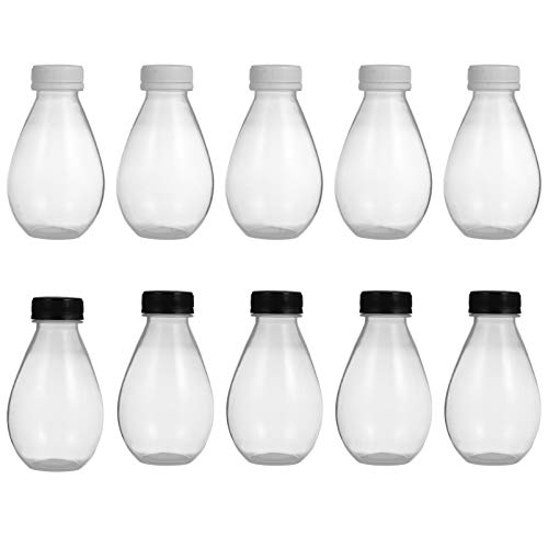 Angoily 10 Piezas Botella de Jugo Vacía Envases de Almacenamiento de Bebidas de Leche de Plástico Botellas de Bebida Reutilizables con Tapas de Tapas Negras a Prueba de Manipulaciones 300