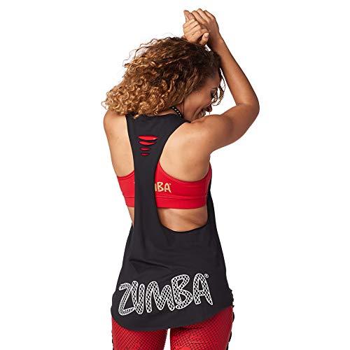 Zumba Atlético Estampado Fitness Camiseta Negra Mujer Sueltas de Entrenamiento Top Deportivo