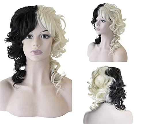Parrucca da taglio pixie colorata in bianco e nero per le donne 30 cm onda profonda parrucca frontale Kinky ricci capelli umani strega corta bob parrucche