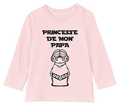 Princesse de Mon Papa Parodie T-Shirt Bébé Unisex Manches Longues 6-12M 66/76cm Rose Pale
