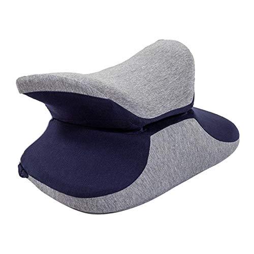 Blesiya 360 ° abrazo almohada de espuma de memoria Escritorio de oficina cojín de almohada de siesta para la cabeza de apoyo almohada de viaje para el cuello - Azul oscuro