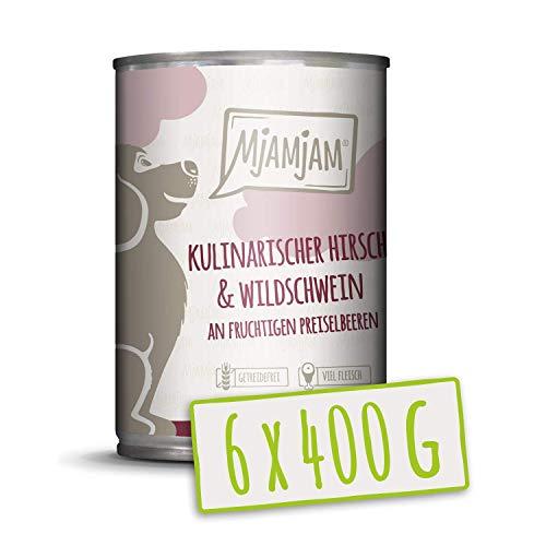 MjAMjAM - Pienso acuoso para Perros - Ciervo y jabalí Gourmet con arándanos afrutados - Natural - 6 x 400 g