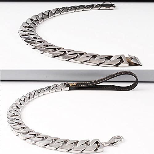 Collar de perro de oro de 23 mm, cadena de acero inoxidable para mascotas, collar Pitbull Bulldog Collar para perro, correa de 23 mm de largo, 23 mm x 50 cm