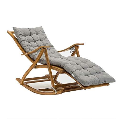 Silla Mecedora reclinable Plegable de bambú, Silla Ajustable de 6 velocidades, Tumbona de la Sala de Estar del Dormitorio, sillón reclinable para Exteriores portátil con