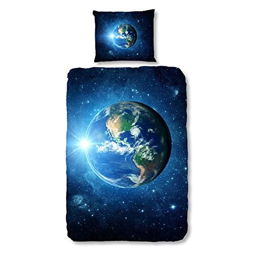 Good Morning! Bettwäsche Earth Renforcé blau Größe 135x200 cm (80x80 cm)