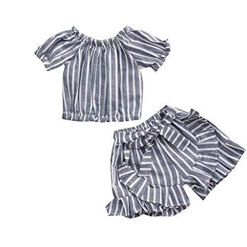 jerferr Kleinkind Kinder Baby Mädchen Streifen Print Off The Shoulder Tops + Rüschen Shorts Set