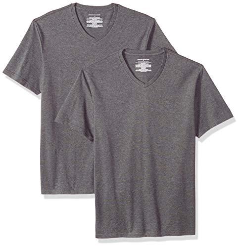 Amazon Essentials – Camiseta con cuello en V para hombre (2 unidades), Gris (Charcoal Heather Cha), US S (EU S)