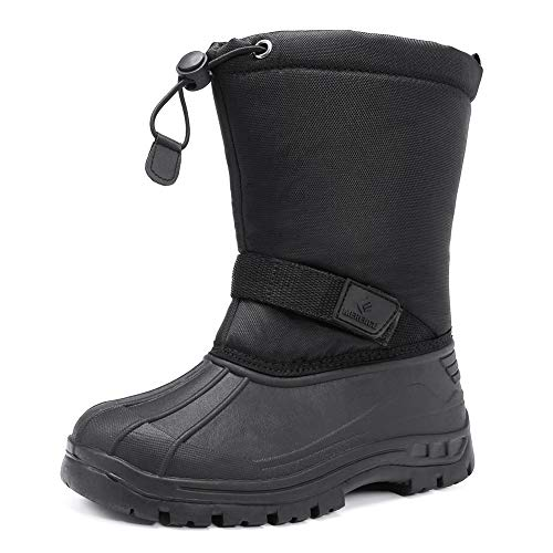 EQUICK Kids Snow Boots,Boys& GirlsWinterBoots Waterproof Cold Weather Outdoor Boots(Toddler/Little Kid/Big Kid),U219WTXH001-black-32