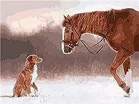 番号によるDiyペイント大人のためのデジタル絵画大人と子供のためのデジタル絵画キット家の装飾馬と犬