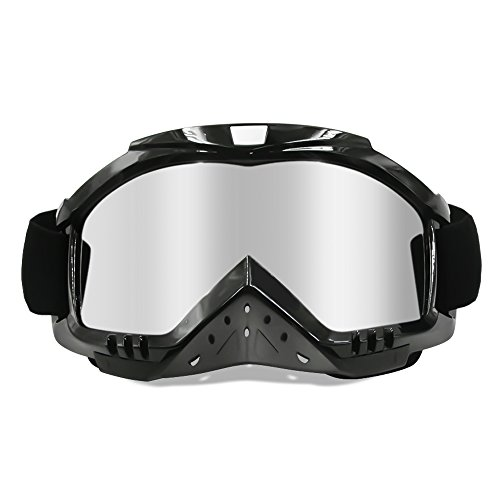 Dmeixs Motorcycle Goggles Dirt Bike Goggles Grip For Helmet Anti UV Windproof Dustproof Anti Fog Glasses for ATV Off Road Racing with Cool Look Headwear Silver Lens 2 in 1