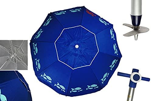 Pincho Sombrilla Marbella Playa/jardín Anti-VUELCO 2m Aluminio UPF+50 99% UV Punta de Aluminio Reforzado 16 Varillas (Azul Peces)