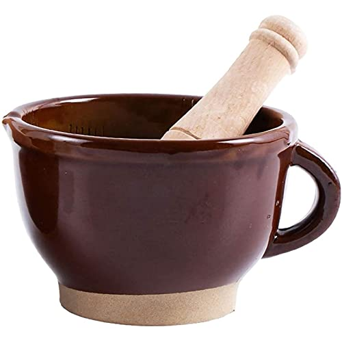 AWJ Juego de mortero, mortero y Maja de alfarería, Cuenco de Guacamole con Cuenco de Guacamole para Verter Pelador de ajo Tradicional Mortero y mortero Molinillo de espe