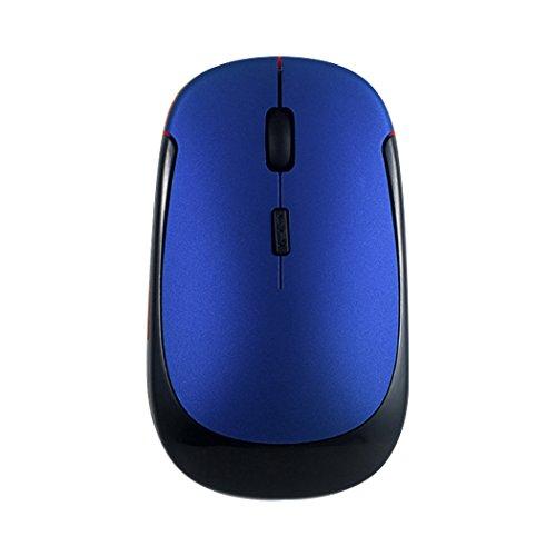 Silent Click Mini Mouse ottico senza fili, silenzioso, ultra sottile per notebook, PC, laptop, computer, computer portatile (blu)