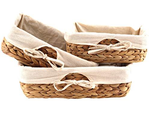 Decorasian - Juego de 3 cestas de pan trenzadas de algas marinas con paño de lino, jacinto de agua