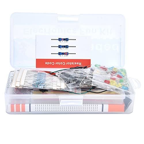 Kit básico de componentes electrónicos, kit básico de electrónica con condensador LED de placa de pruebas de 830 orificios, potenciómetro preciso, herramienta de bricolaje para R3 / MEGA2560
