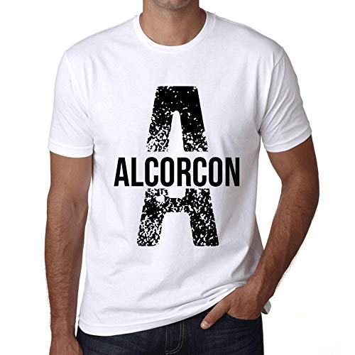 Hombre Camiseta Vintage T-Shirt Letter A Countries and Cities Alcorcon Blanco