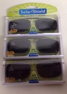 3 Solar Shield Clip-on Polarized Sunglasses Size 54 rec 19 Black Full frame