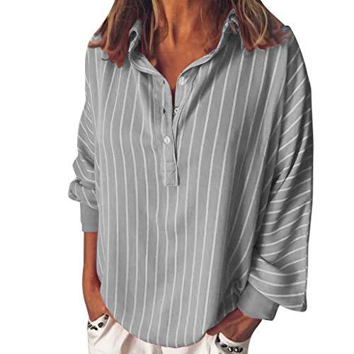ITISME FRAUEN BLUSE Damen Casual Langarm FarbblockFrauen Langarm-T-Shirt mit V-Ausschnitt (XXXX-groß, Blau)