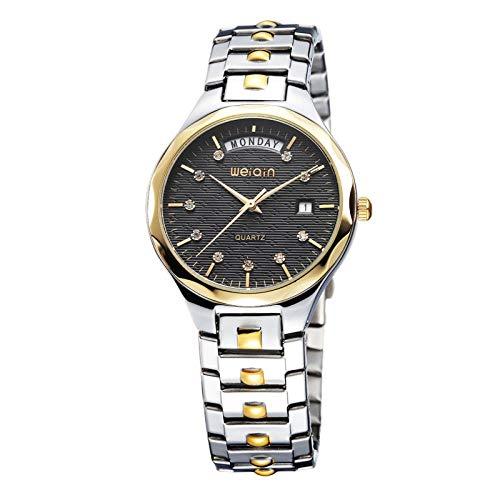Armbanduhr Business-Kalender Uhr Mode Lässig Stahlband Wasserdicht Quarzuhr, Goldgehäuse Schwarzes Gesicht