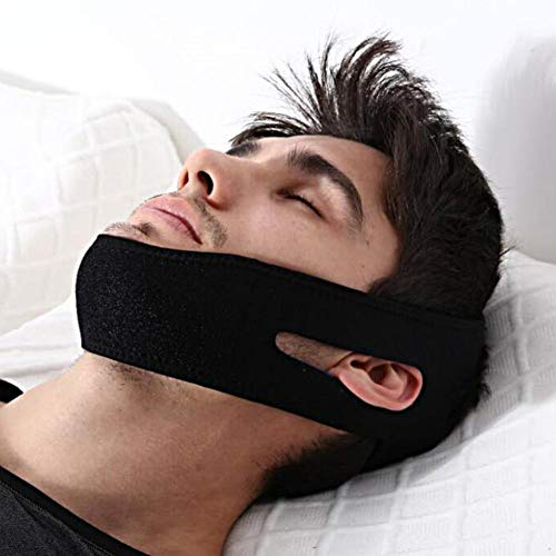 Chin mask, Anti Snoring Chin Strap, Unisex Sleeping Stop Snoring Stop Snoring Headband Jaw Support Facial Lifting Strap Belt Comfortable Snore Reduction Relief Snore Stopper Sleep Aid, 26 x 1.6inch