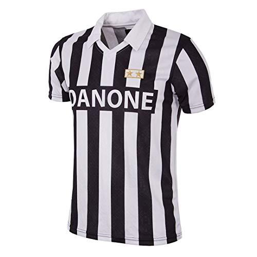Copa Herren Juventus FC 1992–93 Coppa UEFA Retro Fußballtrikot Retro Fußballkragen T-Shirt L schwarz/weiß