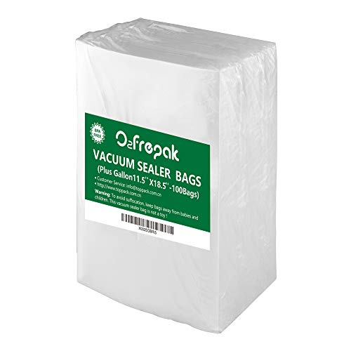 O2frepak Plus Gallon 4mil 115 x 185Vacuum Sealer Bags for Food SaverBPA Free and Heavy Duty Vacuum Seal Food Saver BagsGreat for Sous Vide Vaccume Sealer PreCut Bag