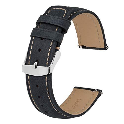 BISONSTRAP 20mm Correa de Reloj con Cierre Rápido, Correas de Repuesto de Cuero Retro (Negro con Costuras Caqui)