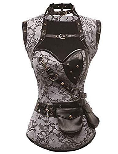 FeelinGirl Damen Korsett mit Stahlstäbchen - Brokatmuster - Retro/Gothic/Steampunk-Stahl ohne Knochen, Grau, 3XL(EU 44)