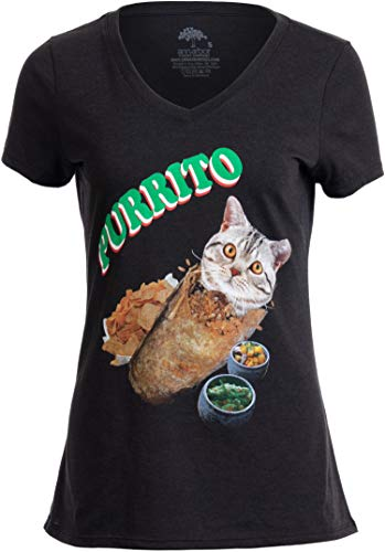 Purrito | Burrito Cat Funny Mexican Food Kitty Salsa Guac Kitten Women T-Shirt-(Vneck,S) Vintage Black