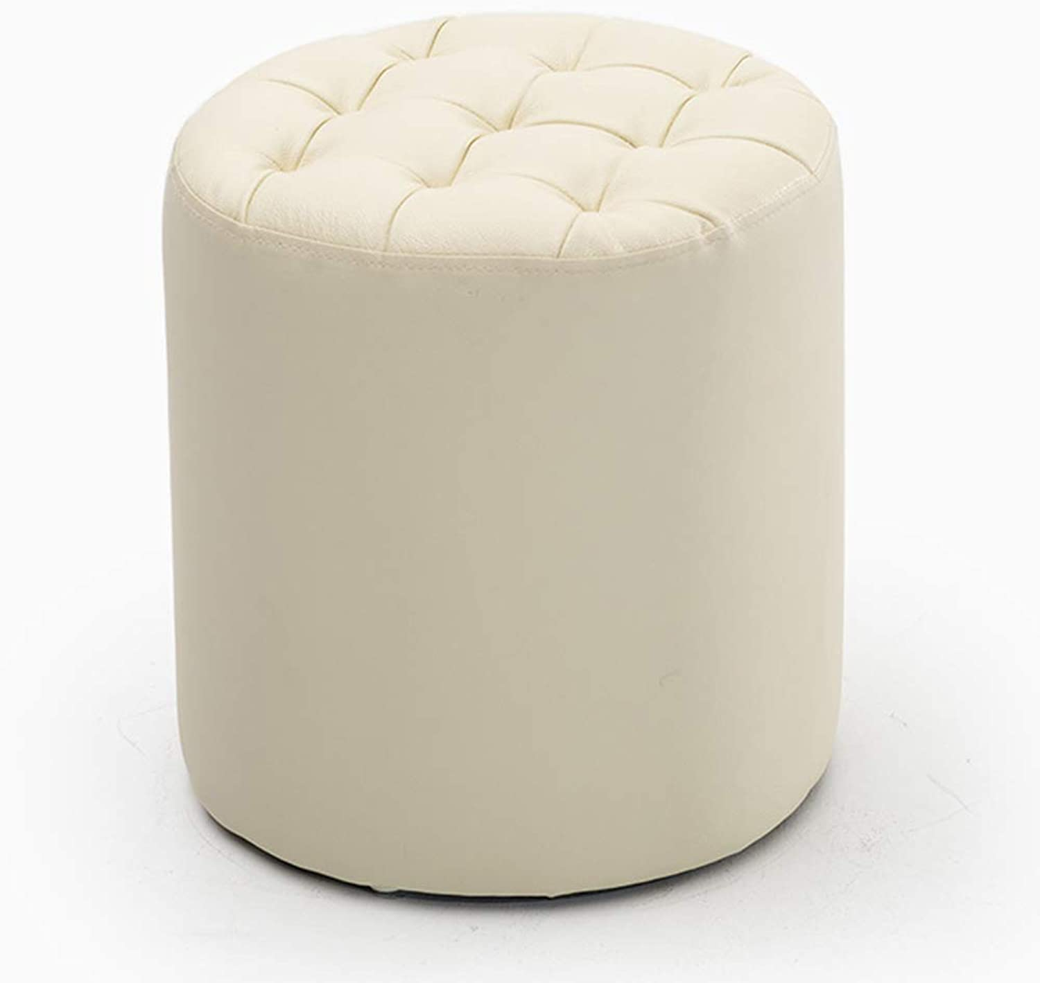 JCOCO Footstool Artificial Leather Home Bedroom Living Room Mobile Anti-Slip stool (color   Milk White, Size   34.5  36cm)