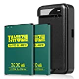 LG V20 Battery, TAYUZH 2X 3200mAh Li-ion Battery Replacement BL-44E1F with Charger for LG V20 AT&T H910, T-Mobile H918, Verizon VS995, Sprint LS997, US996 | V20 Spare Battery [24 Month Warranty]