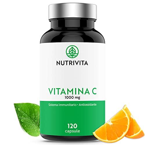 Vitamina C 1000mg   Sistema Immunitario e Riduzione Della Stanchezza   A base di Vitamina C Quali-C (Acido L-Ascorbico)   120 capsule   Prodotto in Francia   Nutrivita