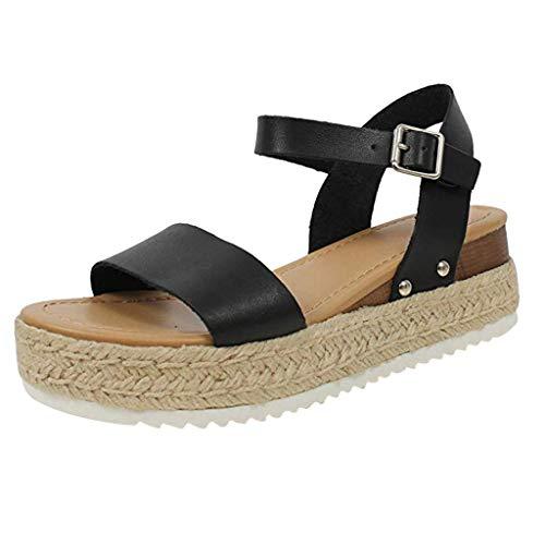 BHYDRY Moda Casual para Mujer Punta Abierta Hebilla Correa Sandalias Plataformas Med Heel Shoes