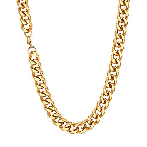Richsteel Cadena de Oro Gruesa 12mm Men Necklace Collar Acero Inoxidable homobre 46cm Largo, Cadena Cubana Hombre