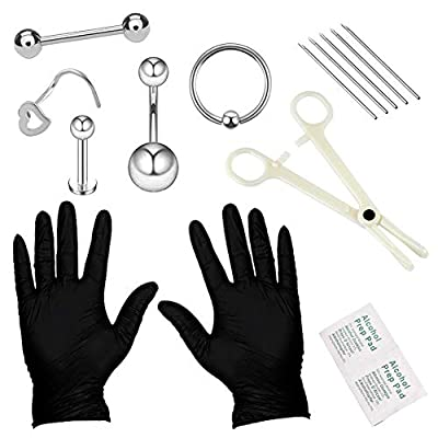 YOFANST Body Piercing Kit Ear Eyebrow Nose Tongue Lip Nipple Belly Button Piercing Jewelry 14G 16G Included Gloves Tools Set A
