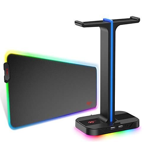 havit Soporte para Auriculares y Alfombrilla de Ratón RGB 700 * 285 * 3mm,Base para Auriculares con Soporte para Teléfonos y 2 Puertos USB para PC de Escritorio+ Alfombrilla de Ratón XL