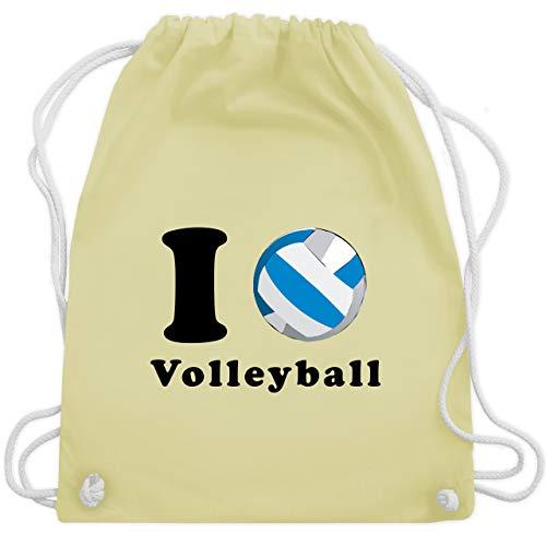 Shirtracer Volleyball - I Love Volleyball - Unisize - Pastell Gelb - WM110 - Turnbeutel und Stoffbeutel aus Bio-Baumwolle