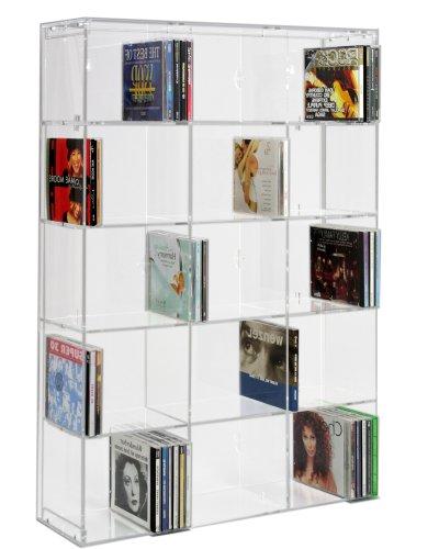Scaffale modulare per CD in acrilico con pannello posteriore trasparente