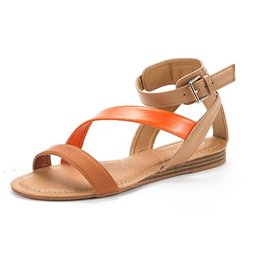 DREAM PAIRS Nora New Women Open Toe Fashion Buckle Crisscross Valcre Ankle...