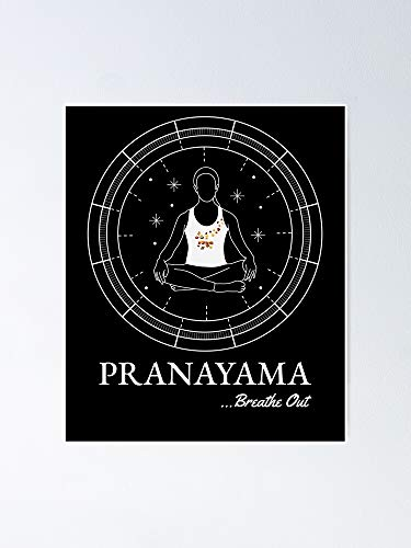 Póster de Yoga Pranayama Breathe Out – para citas inspiradoras, impresiones de motivación, regalo para mujeres, regalo para hombres, arte de la pared, decoración de la habitación del dormitorio.