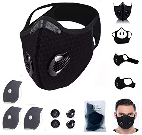 eHenZ Face Mesh Sports Filtres HZ Protection Haute Filtration (1 Mesh Black & 3 Filter6L)
