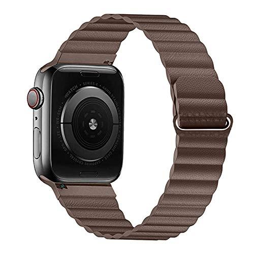 YGGFA Correa de piel sintética para Apple Watch de 44 mm y 40 mm de repuesto para iWatch Series 6, 5, 4, 3, 2, pulsera de 42 mm, 38 mm (color de la correa: marrón, ancho de la correa: 44 mm y 42 mm)