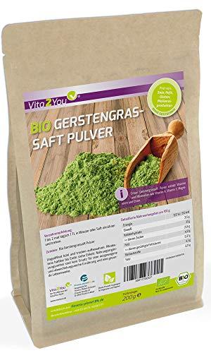 Bio Gerstengrassaft Pulver 200g - Rohkost Qualität im Zippbeutel - Gerstengras Saftpulver gemahlen - 1er Pack (200g) - Premium Qualität