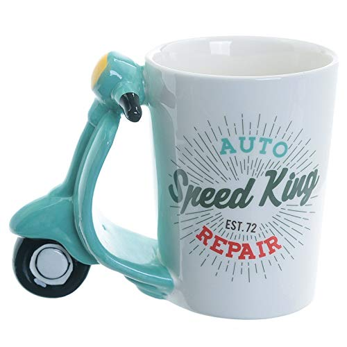 XKMY Taza de cerámica pintada a mano 3D para motocicleta, creativa, taza de café, multifuncional, desayuno, leche, regalo de cumpleaños para niños (capacidad: 301 400 ml)