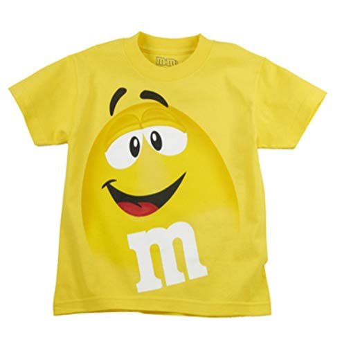 M&M M&M's Candy Silly Character Face T-Shirt (Medium, Yellow Face)