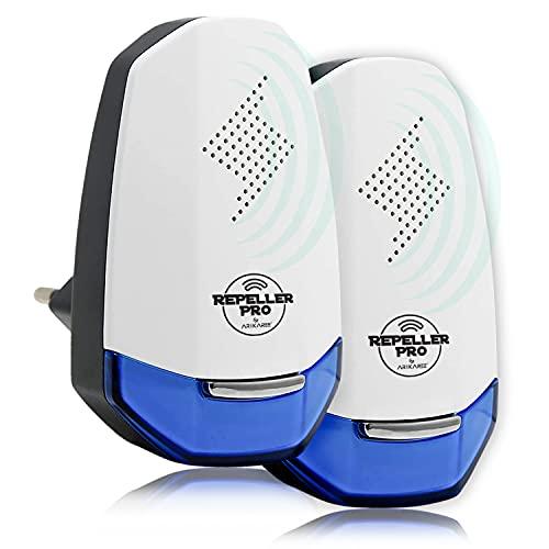 Repeller Pro - Repelente ultrasónico profesional 2021 para ratones, ratas, cucarachas, insectos, roedores, hormigas arañas, abejas, repelente eléctrico, jardín (blanco)